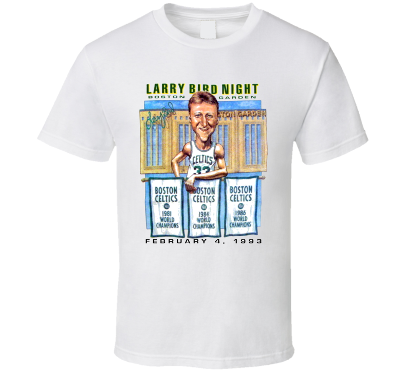 Vintage Larry Bird Night Celtics Boston Gardens Caricature T Shirt