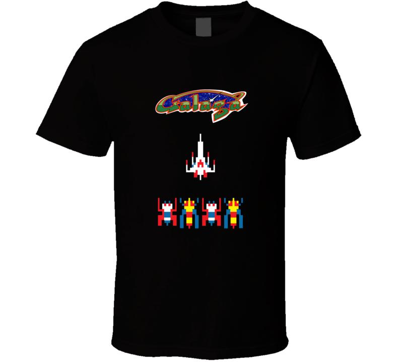 galaga arcade video game old school graphic tshirt tees