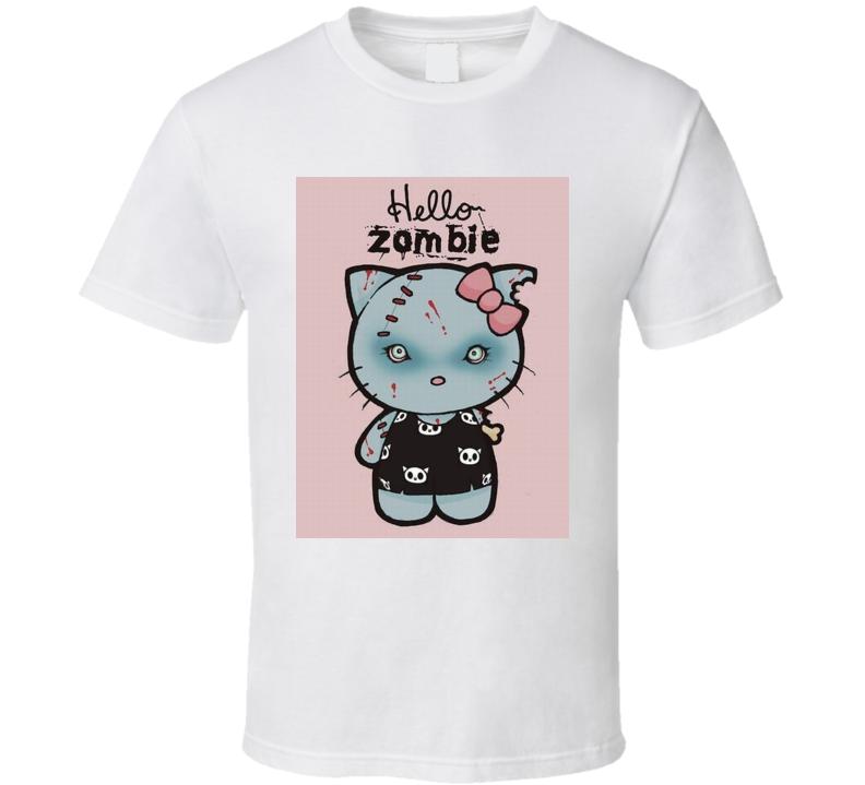 Hello zombie funny parody hello kitty Tshirt