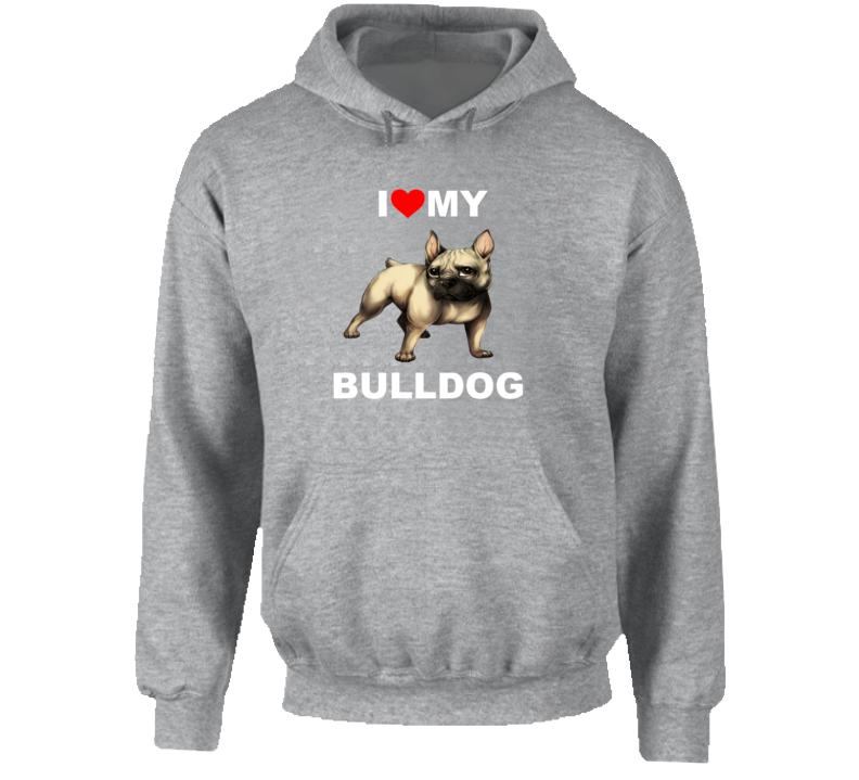 I Love My Bulldog Graphic Hoodie