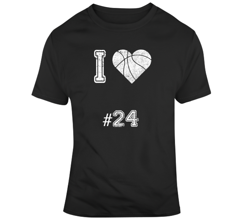 I Love Number 24 Basketball Tribute T Shirt