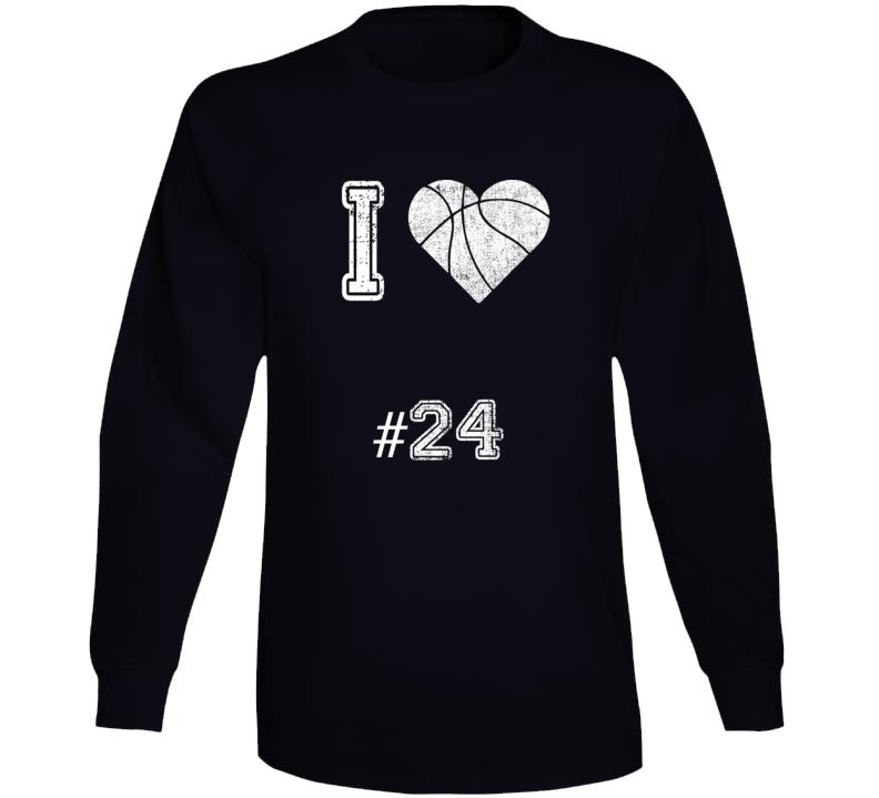 I Love Number 24 Basketball Tribute Long Sleeve