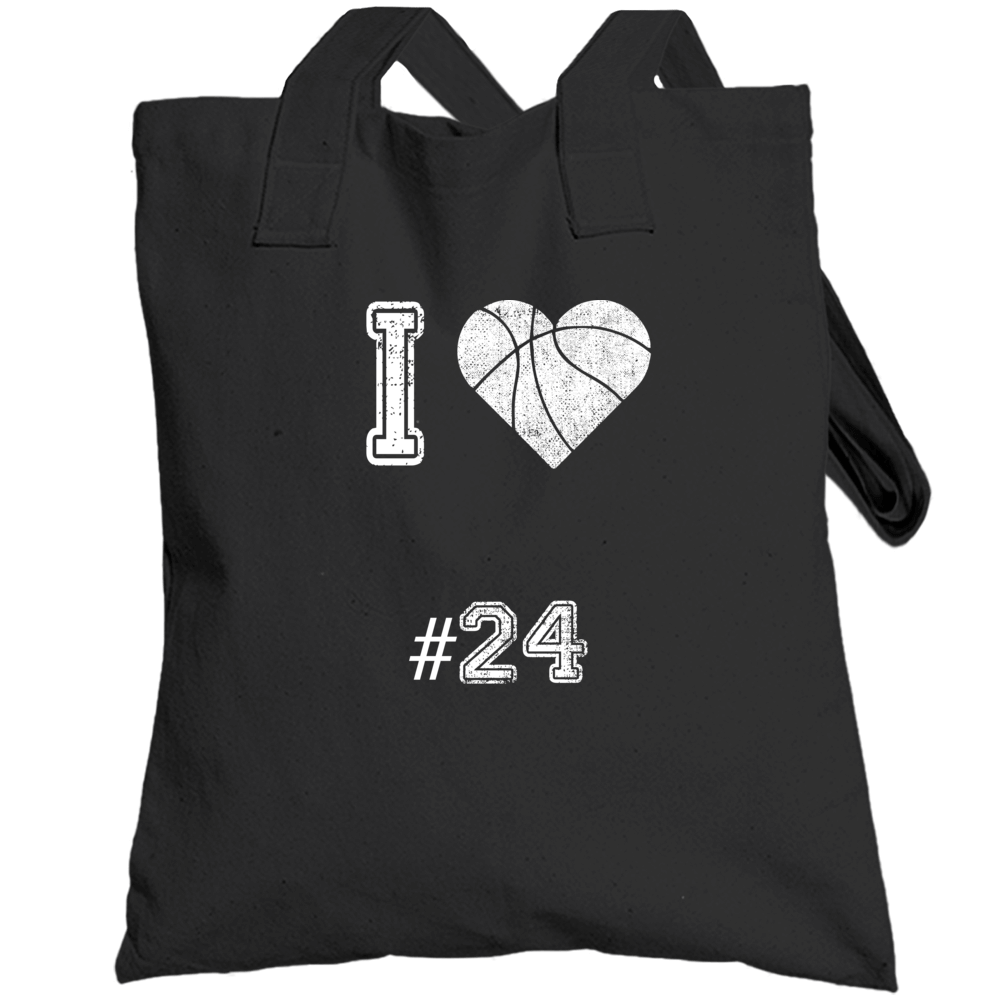I Love Number 24 Basketball Tribute Totebag