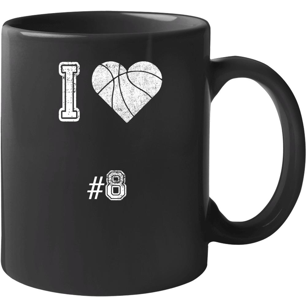 I Love Number 8 Basketball Fan Tribute Mug