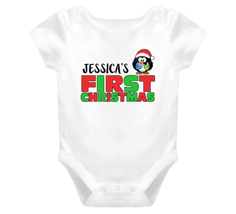 Jessica's First Christmas Penguin Name One Piece