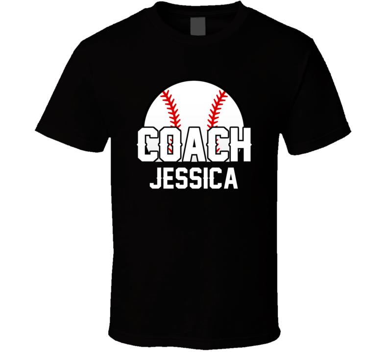 Coach Jessica Baseball Name T Shirt