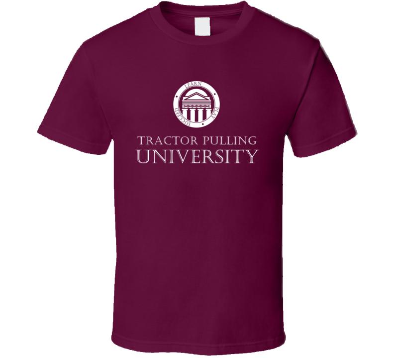 Tractor Pulling University Athletic Academic Logo T Shirt