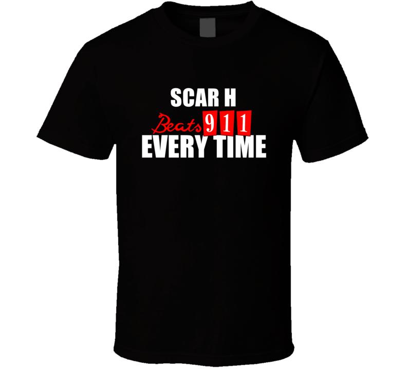 SCAR H Beats 911 Everytime Funny Gun T Shirt
