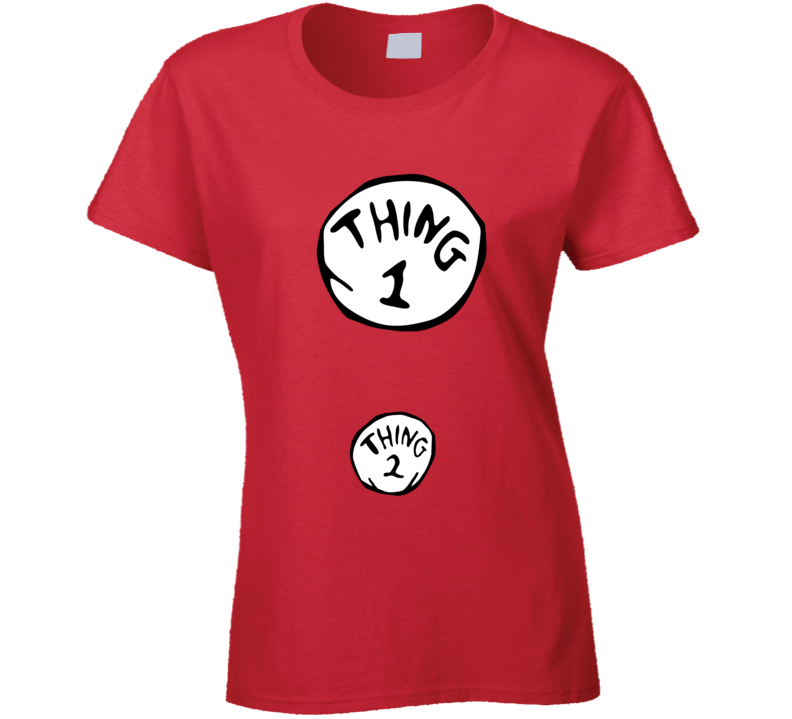 Thing 1 Thing 2 Cute Dr Seuss Inspired Pregnancy Halloween T Shirt