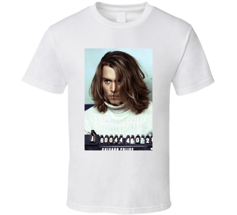 Johnny Depp Celebrity Mugshot Vintage Grunge Look Fan T Shirt