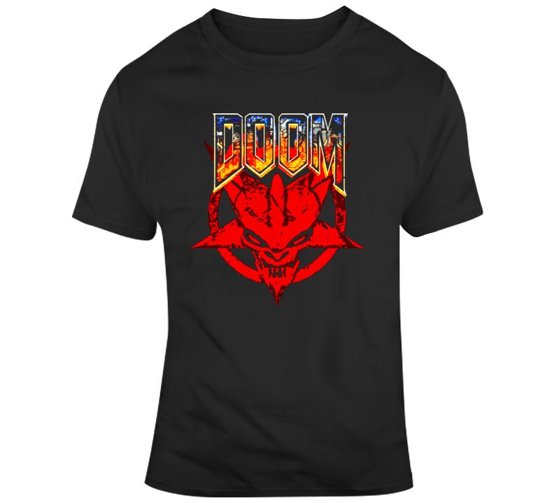 Doom 64 Pentagram Logo Classic Video Game T Shirt