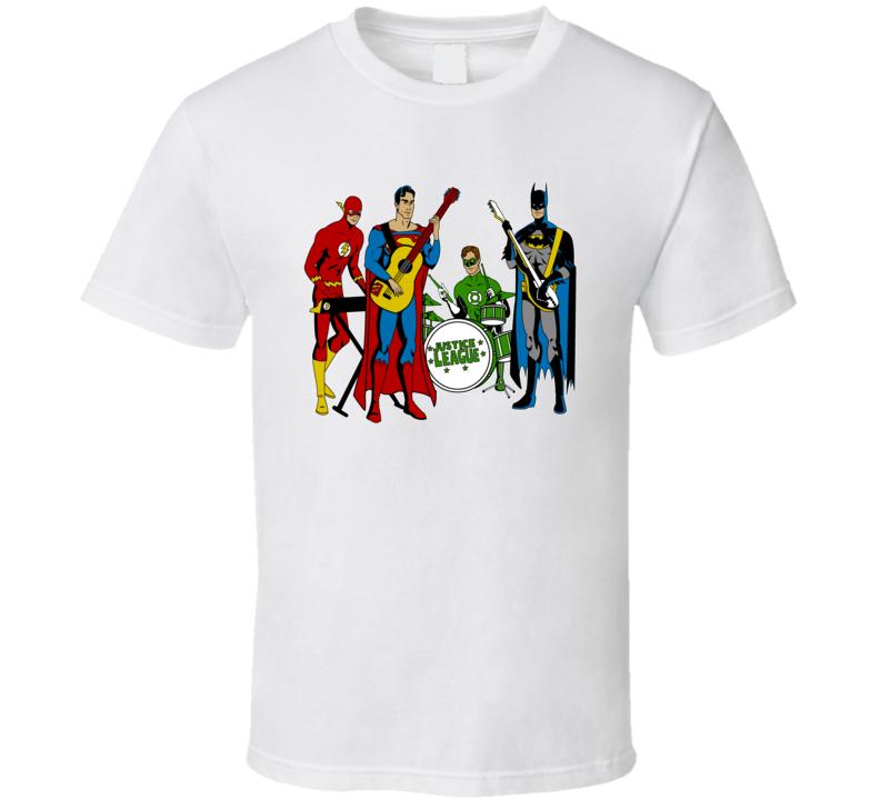 The Justice League Band - Superman, Batman, Flash & Green Lantern  T Shirt
