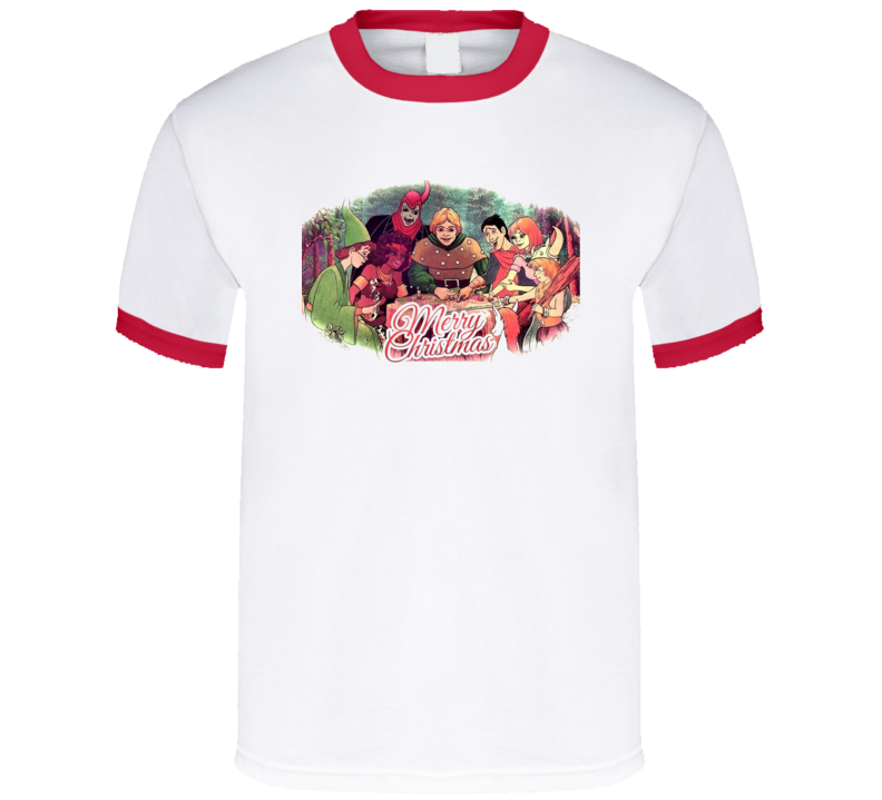Dungeons and Dragons Cartoon Retro D&D Merry Christmas T Shirt