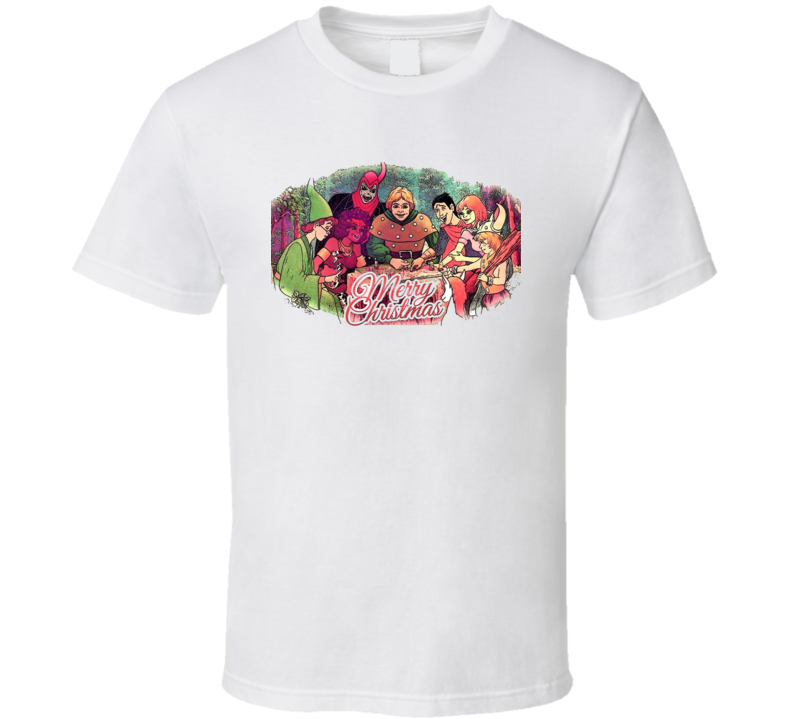 Dungeons and Dragons Cartoon Retro Merry Christmas D&D T Shirt