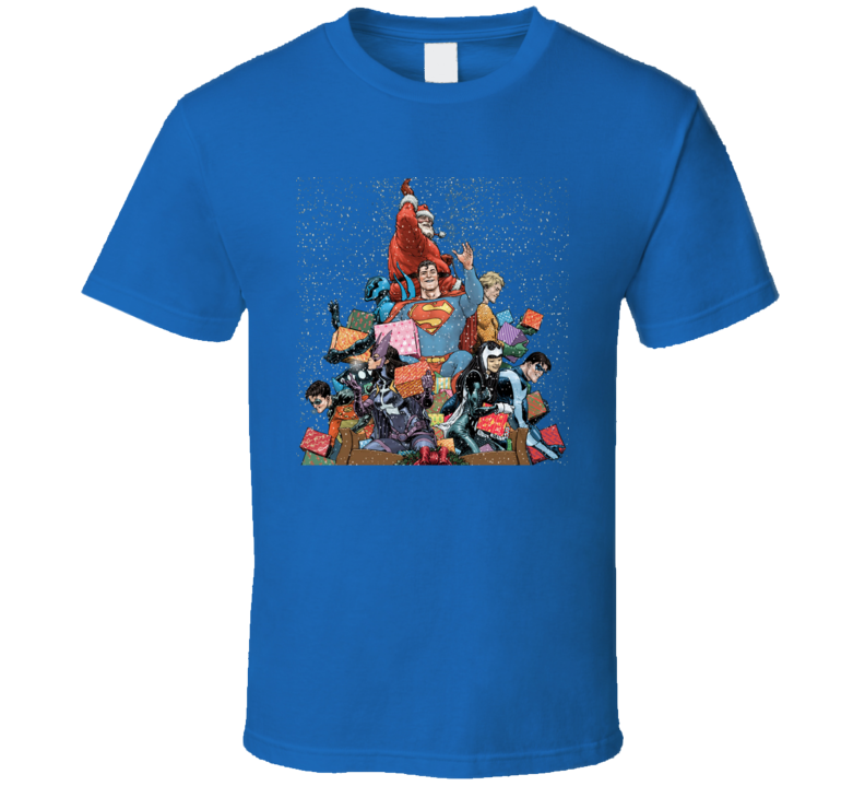 Christmas Superheroes Santa Aquaman Nightwing Robin T Shirt