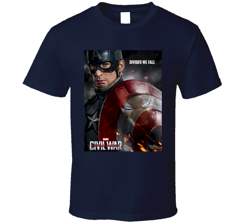 Captain America Civil War Movie Shield Poster T Shirt