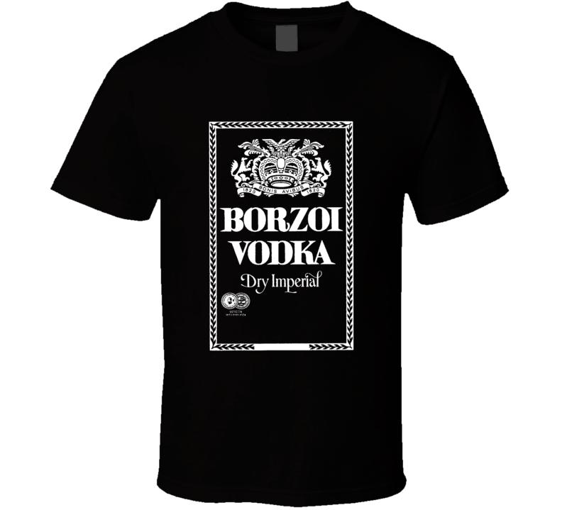 Borzoi Vodka Dry Imperial Logo Alcohol Black T Shirt