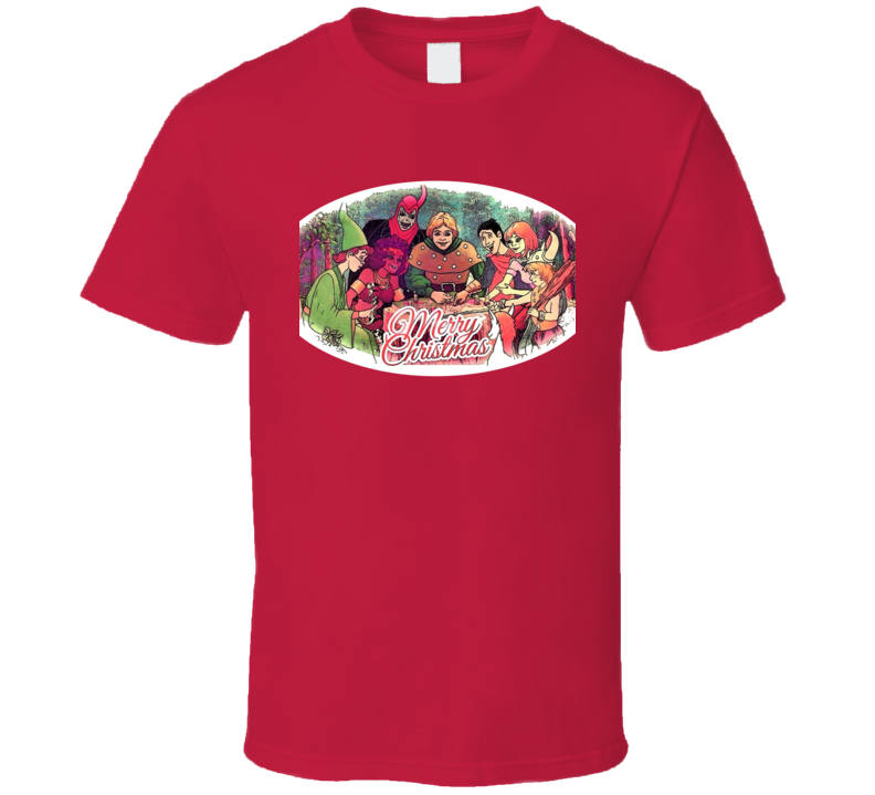 Dungeons and Dragons Cartoon Christmas Greeting D&D T Shirt