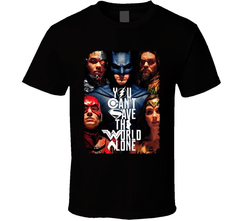 Justice League Jla Movie Aquaman Batman Wonder Woman Poster T Shirt