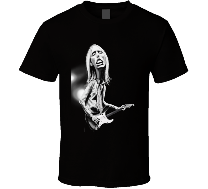 Tom Petty Heartbreakers Caricature Rock Band Music Black T Shirt