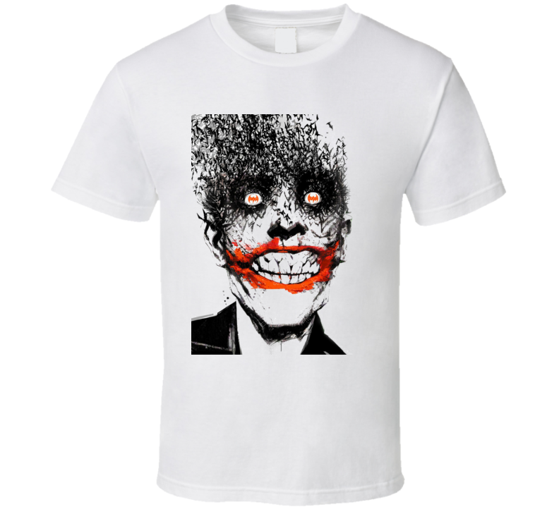 Joker Super Villain Comic Batman Art Portrait White T Shirt