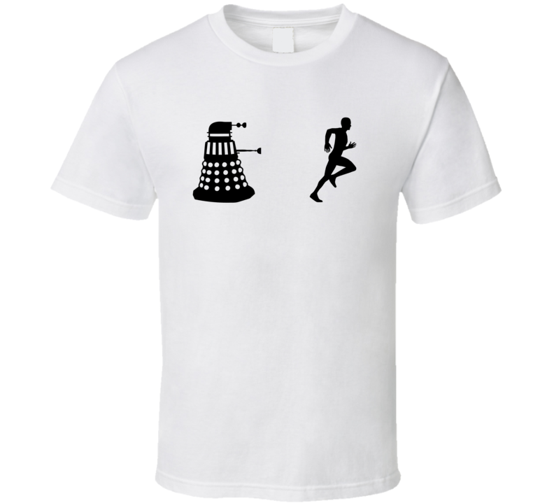 Dalek  Chasing Man Outline Shadow Funny Doctor Who T Shirt