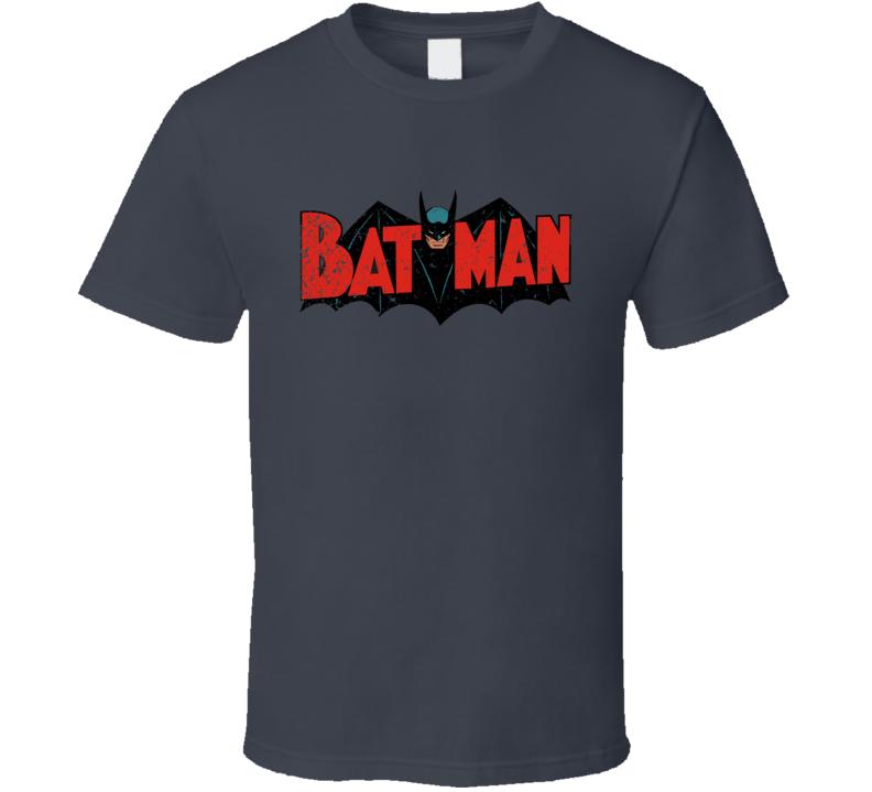 Batman Vintage Comic Book Logo Retro Bat Man Distressed T Shirt