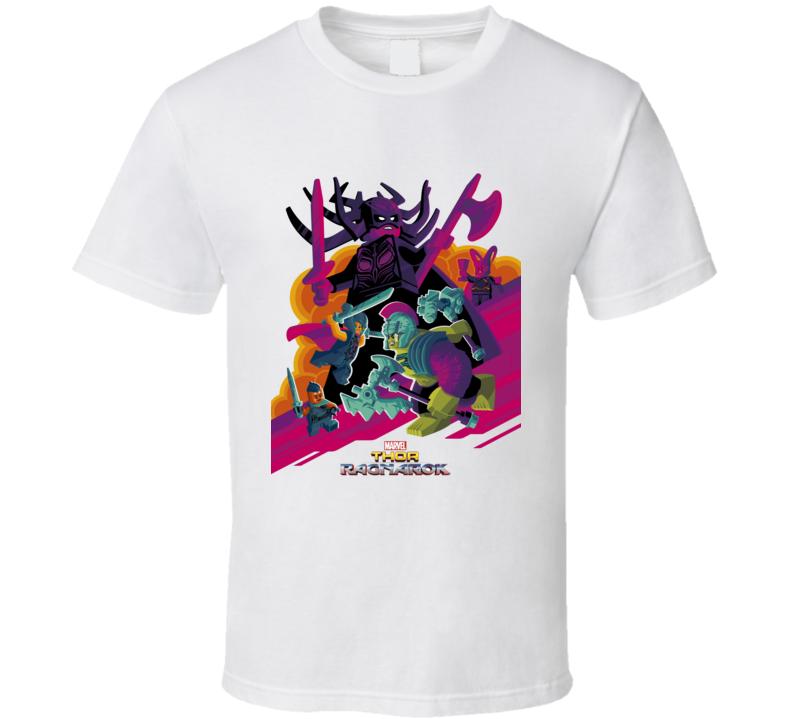 Thor Ragnarok Movie Poster Marvel Hulk Hela Loki Lego Parody T Shirt