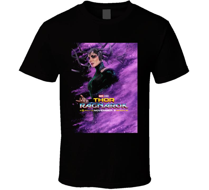 Thor Ragnarok Movie Hela Poster Marvel Hulk Loki Black T Shirt