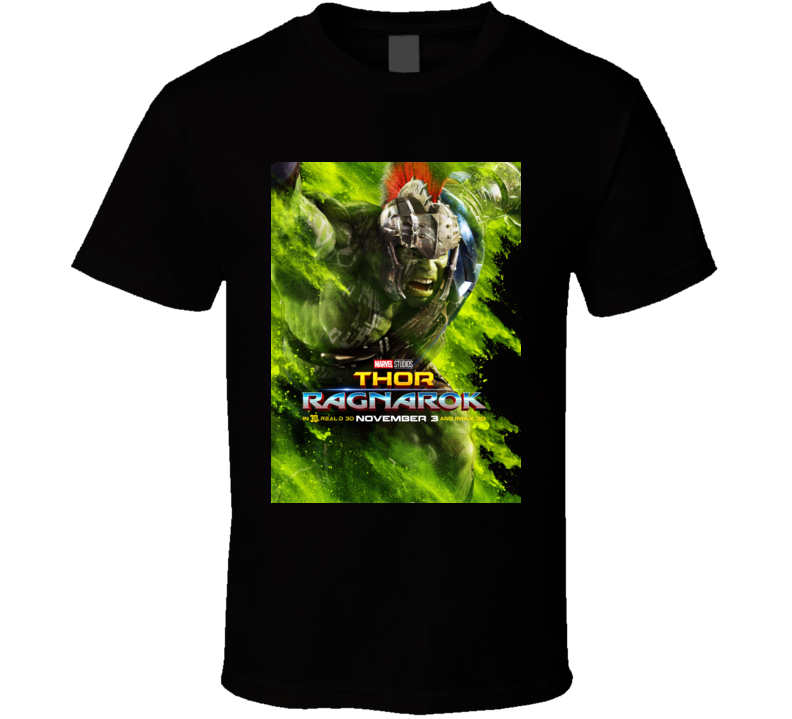 Thor Ragnarok Movie Hulk Poster Marvel Hela Loki Black T Shirt