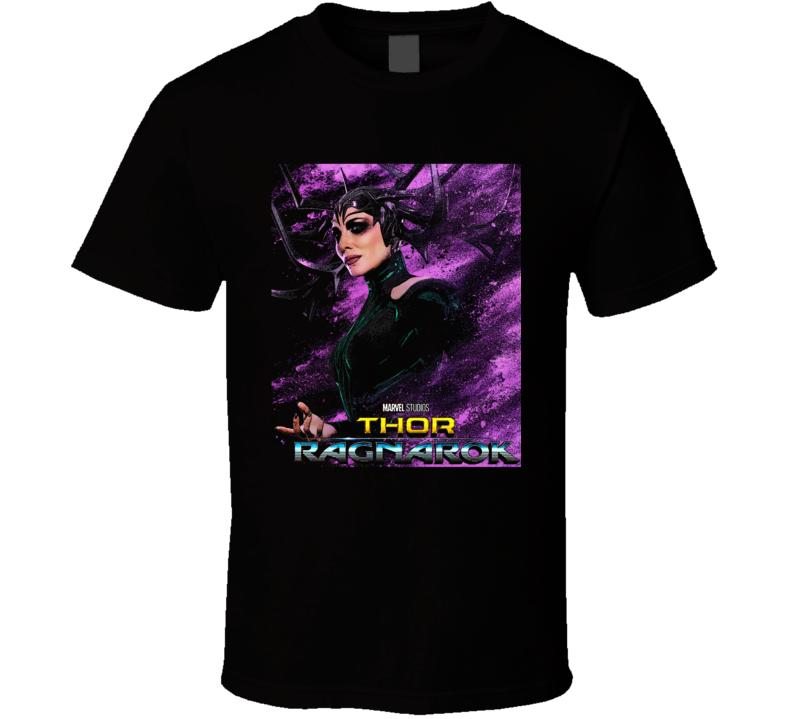 Thor Ragnarok Movie Hela Poster Marvel Hulk Loki Black Art T Shirt