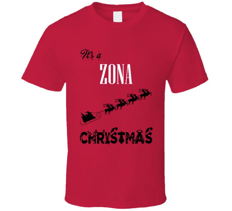 Its a Zona Christmas Name Parody Funny T Shirt