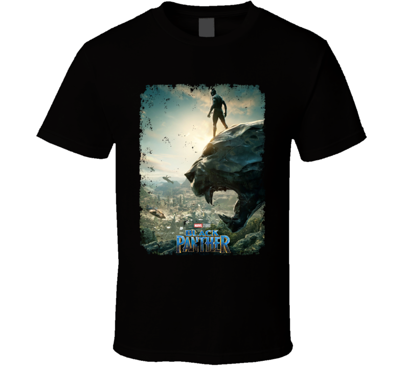 Black Panther Movie Poster Super Hero Avenger Distressed T Shirt