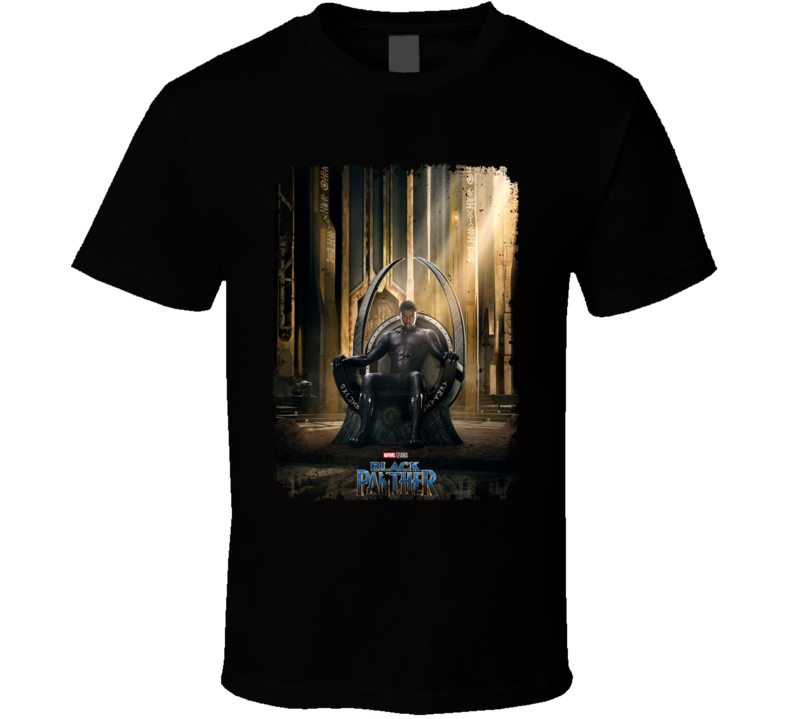 Black Panther Movie Poster Super Hero Throne Distressed T Shirt