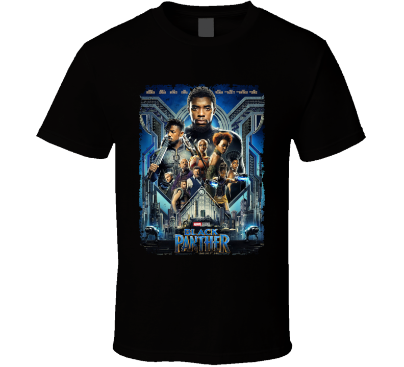 Black Panther Movie Super Hero Avenger Poster Distressed T Shirt