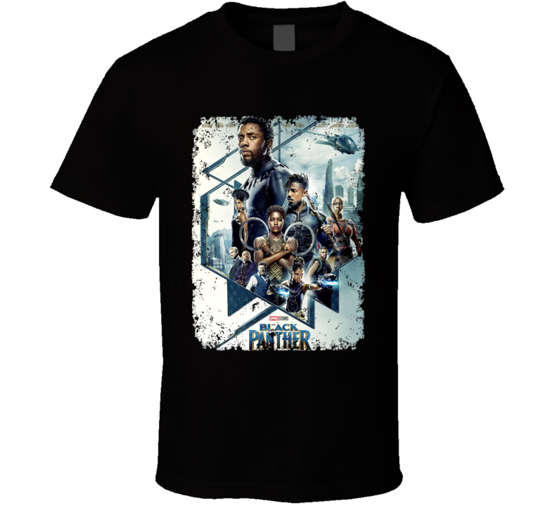 Black Panther Avenger Movie Super Hero Logo Distressed T Shirt