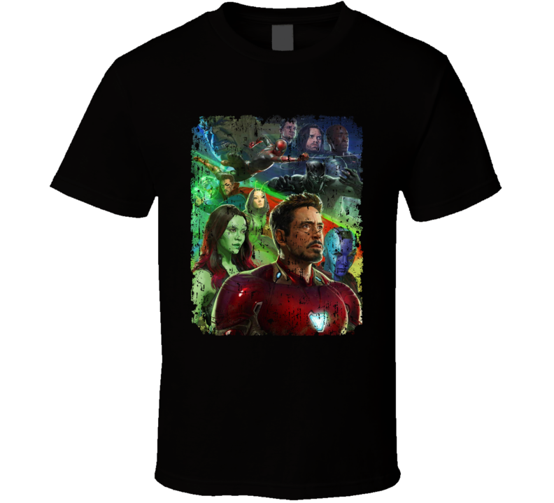 Avengers Infinity War Movie Panther Hulk Gamora Nebula Aged T Shirt