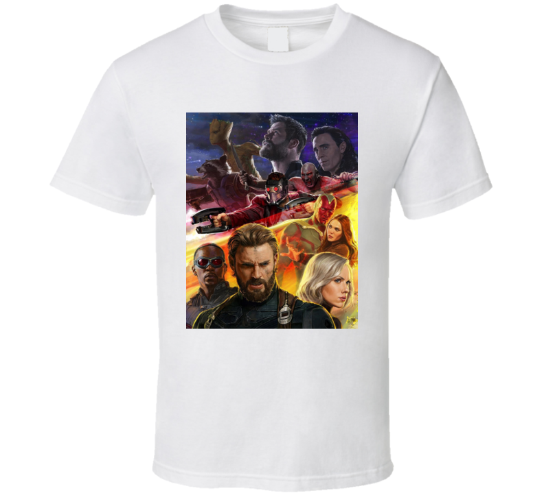 Avengers Infinity War Movie Black Widow Vision Groot Drax Thor T Shirt