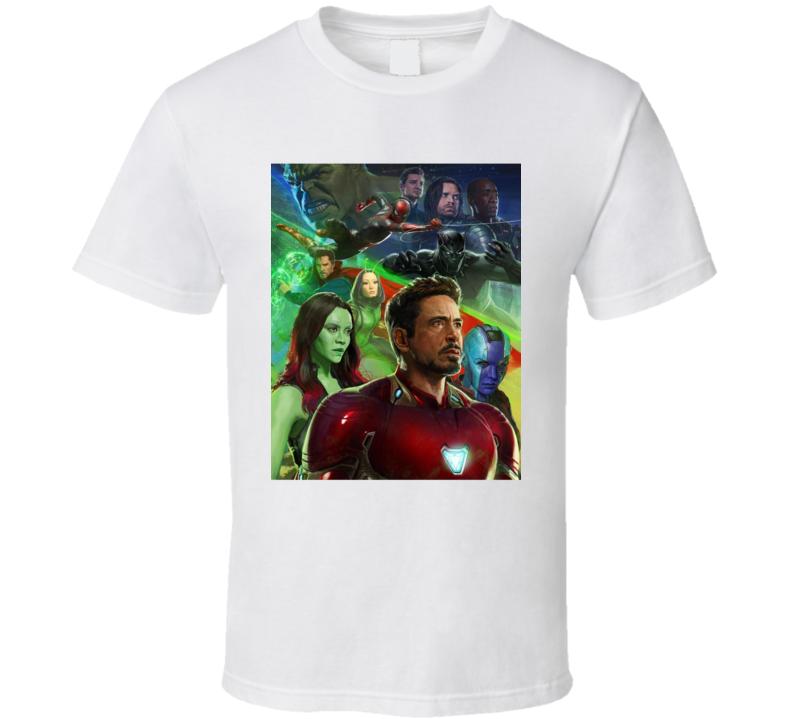 Avengers Infinity War Movie Black Panther Hulk Gamora Iron Man T Shirt