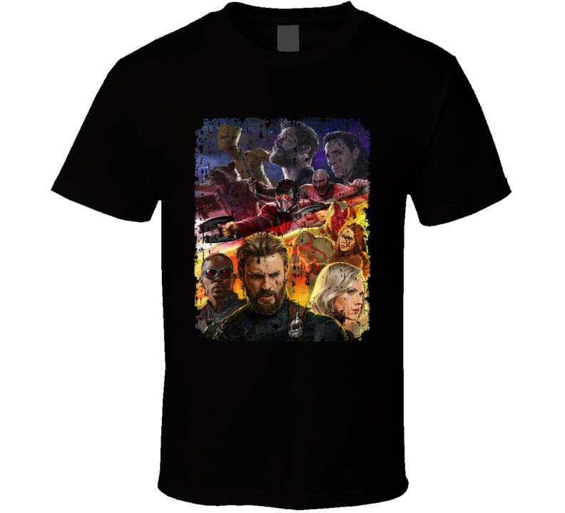 Avengers Infinity War Movie Black Widow Vision Groot Drax Aged T Shirt