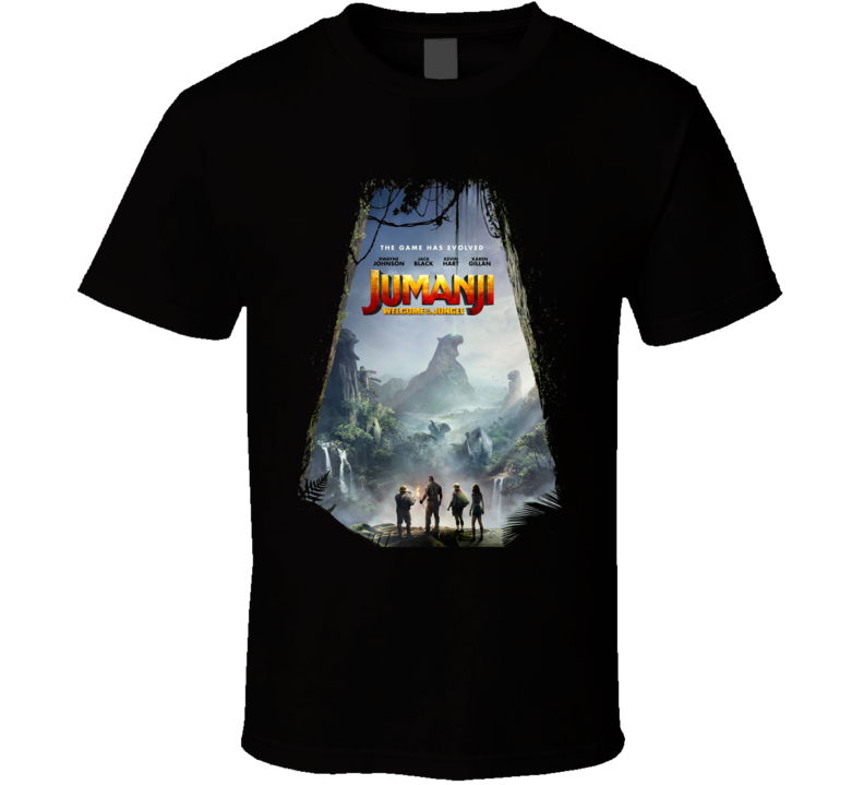 Jumanji Welcome To The Jungle Cast Far Movie Black T Shirt