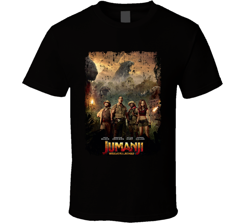 Jumanji Welcome To The Jungle Close Up Cast Movie Poster Aged T Shirt
