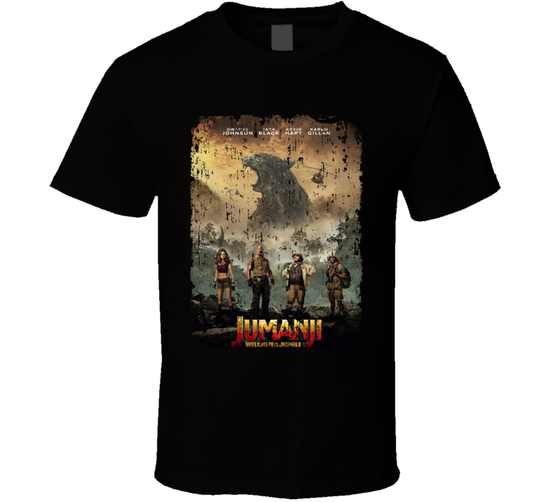 Jumanji Welcome To The Jungle Cast Movie Poster Aged T Shirt