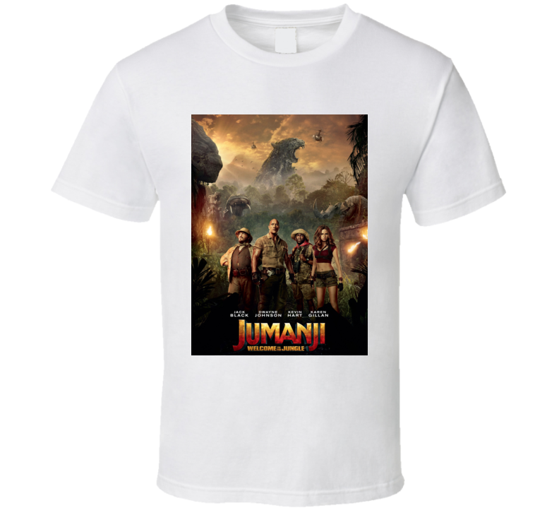 Jumanji Welcome To The Jungle Close Up Cast Movie Poster T Shirt