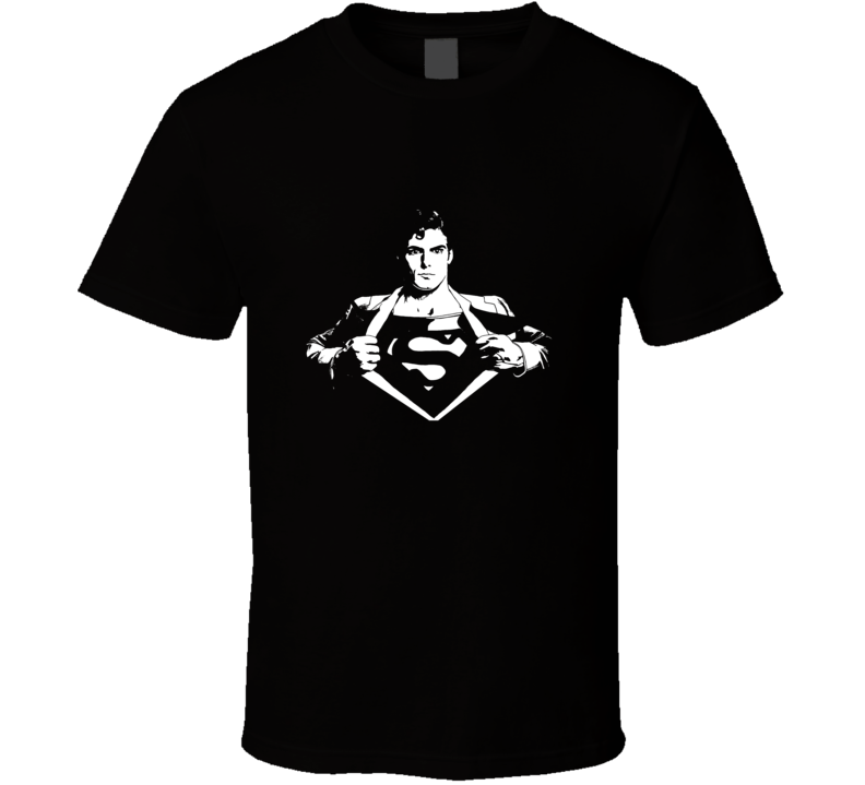 Superman Reeves Movie Comic Books White Stencil T Shirt