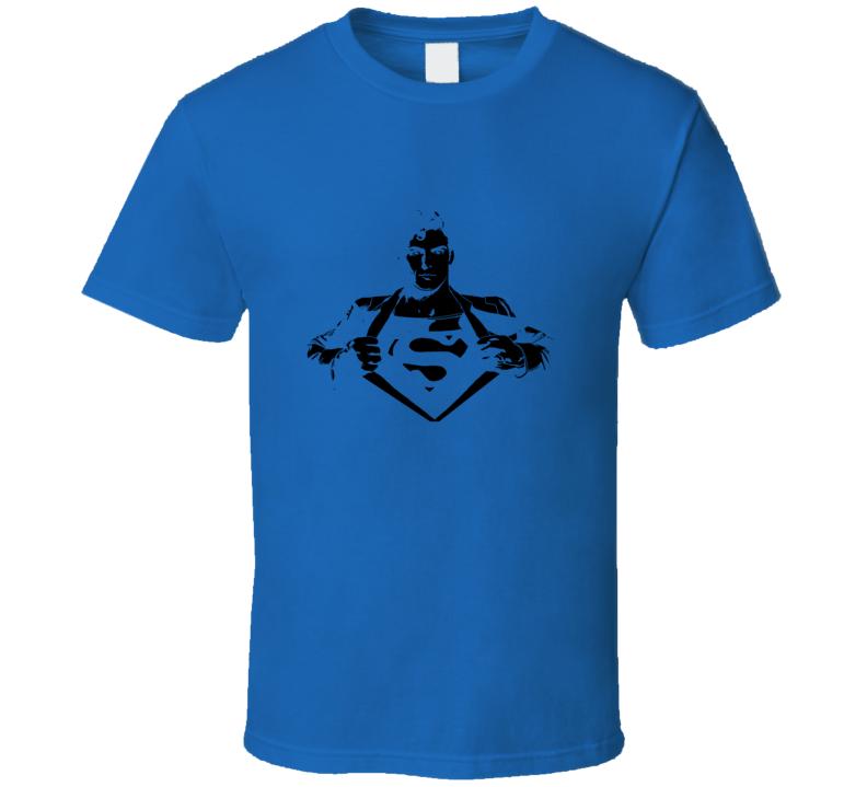 Superman Reeves Movie Comic Books Black Stencil T Shirt