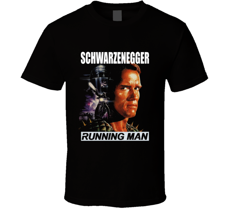 Running Man Cult Movie Poster Schwarzenegger Black T Shirt