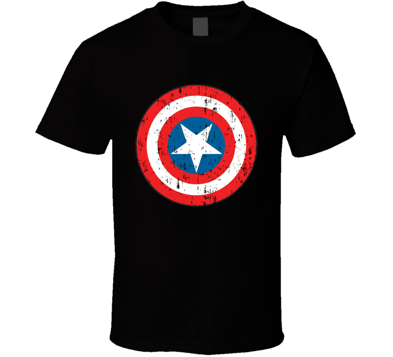 Captain America Super Hero Shield Marvel Comics Aged T Shirt
