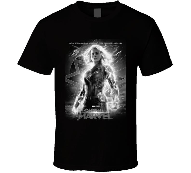 Captain Marvel Movie Poster Super Hero Brie Larson Black T Shirt