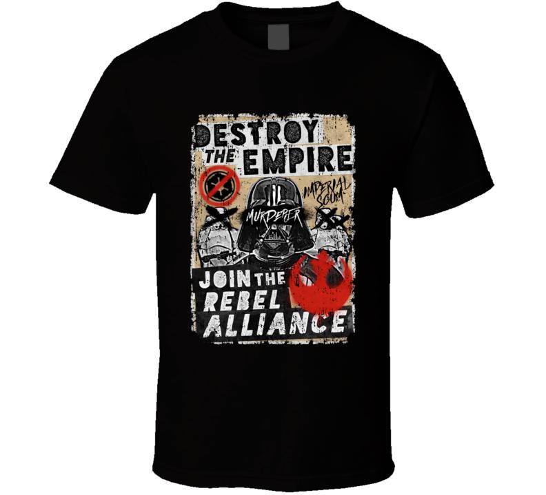 Star Wars Destroy Empire Propaganda Parody Poster Aged T Shirt